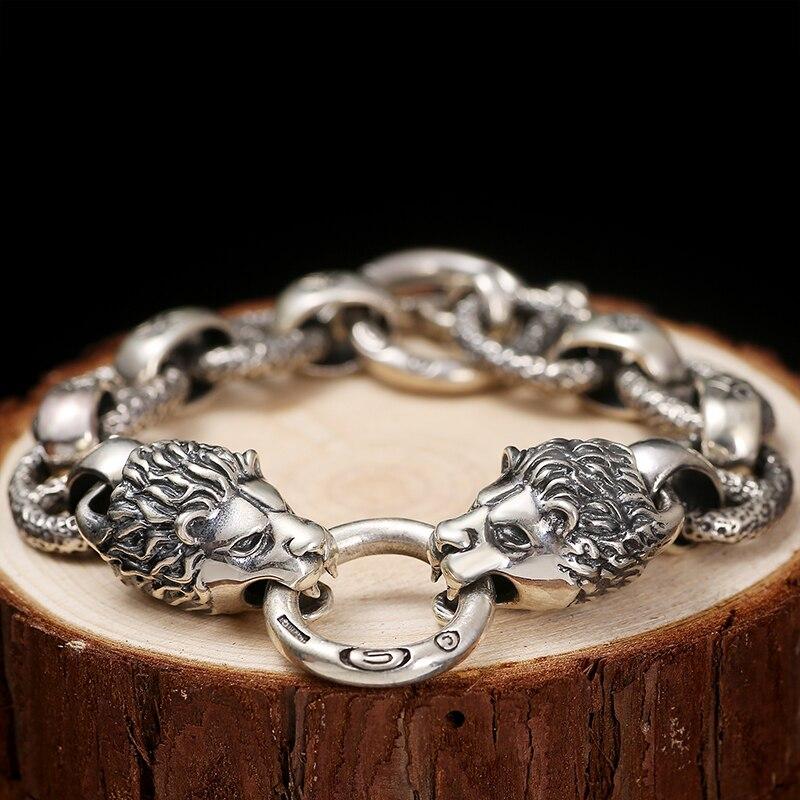 Dwa ognisty lwy wycie sylwetka bransoletka ze srebra próby 925 zwierząt Link łańcuch w stylu Vintage Punk Rock Gothic stałe Sterling Silver opaska na ramię w Bransoletki i obręcze od Biżuteria i akcesoria na  Grupa 2