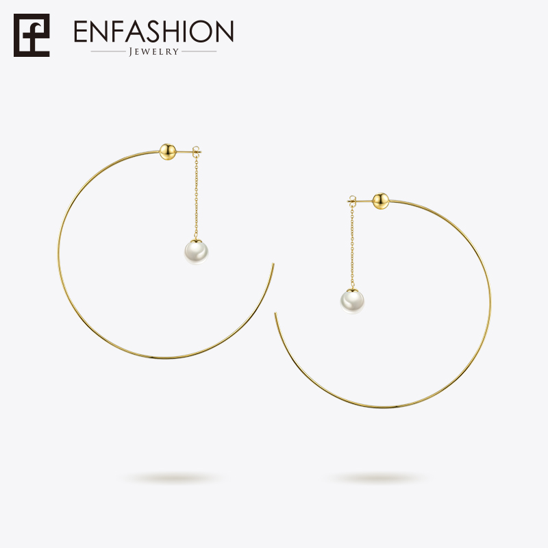 Enfashion Ball Pearl Hoop Earrings Circle Hoops For Women Earring Big Round Earings Fashion Jewelry Oorringen Bijoux EB181050 personality women creole earrings fashion jewelry silver small circle hoop earing set of 9 pairs bijoux statement hoop earrings