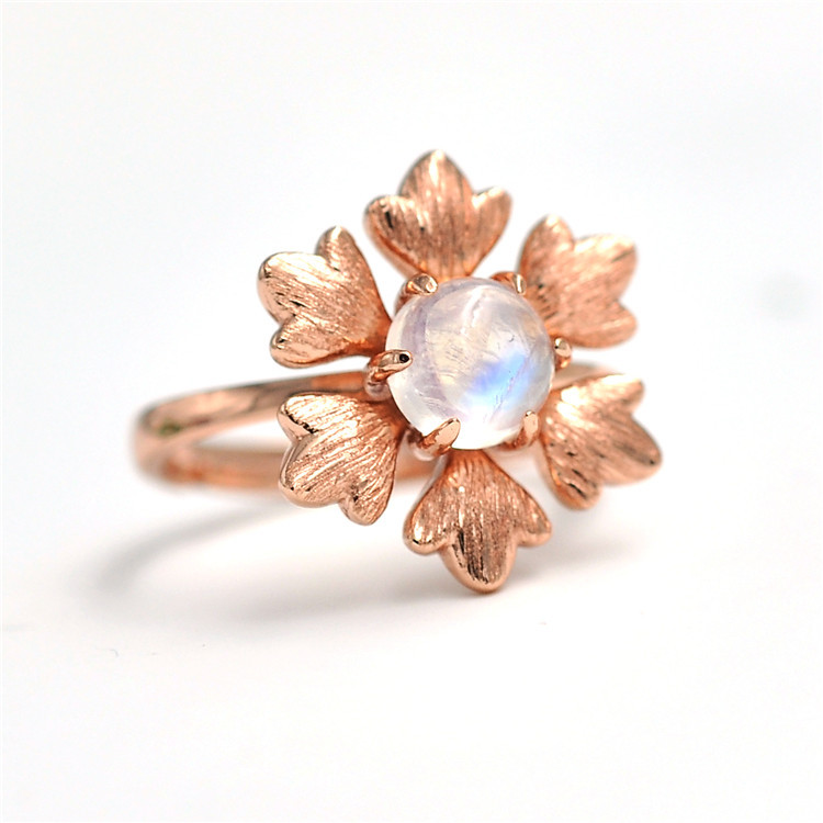Moonstone Ring Natural Silver Ring Ornaments Natural coloured Gemstone