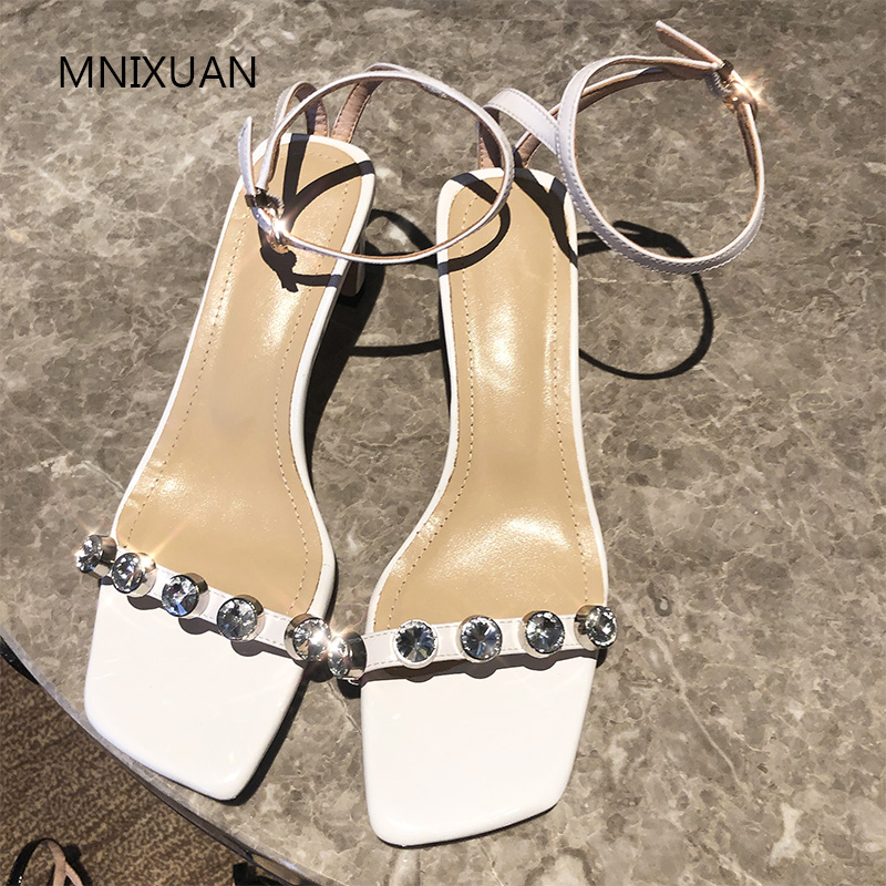 MNIXUAN Fashion summer luxury brands women shoes sandals high heels 2019 new patent leather square toe rhinestone big size 34 42-in High Heels from Shoes    2