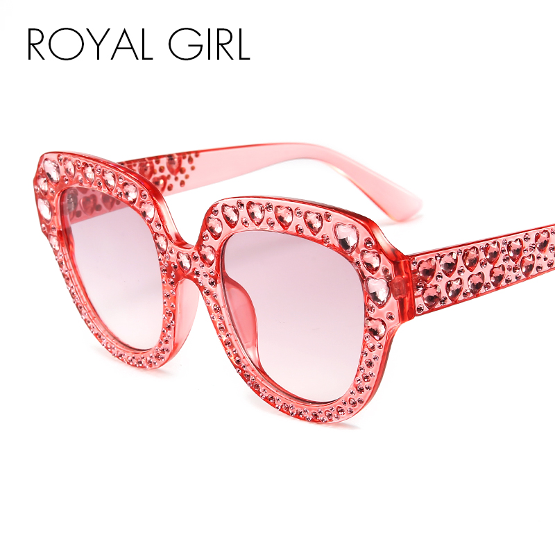 ROYAL GIRL Crystal Rim Women Sunglasses Cat Eye Love Crystal Retro Brand Desginer Oval Oversize Sun Glasses ss314