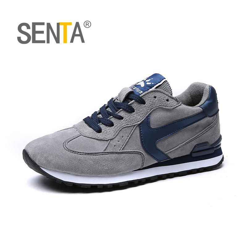 SENTA Winter Running Shoes Genuine Leather Cow Shoes Man Sport Breathable Jogging Walking Men Trainers Chaussures Hombre Femme