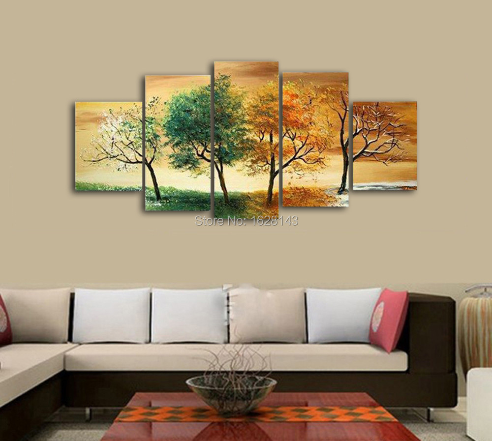 Oil Painting For Living Room Aliexpresscom Buy Modern Abstract Handpainted 4 Piece Oil