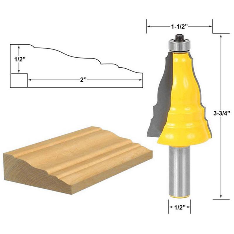 Door Window Casing Router Bit 1/2 Inch Shank Architectural Molding Router Bit Carbide Tipped Ridge Edge Knife Milling Cutter 1 2in shank fishtail like handrail moulding cutter edge trimmer milling cutter molding router bit for woodworking