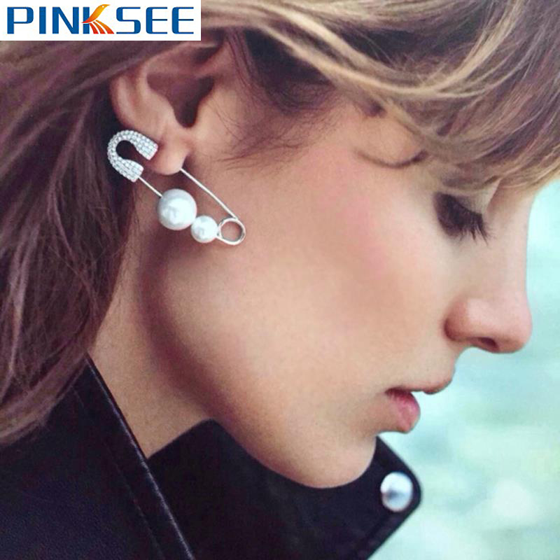 1pc Fashion Simulated Pearl Ear Jewelry Unique Safety Pin Earrings For Women Punk Alloy Puncture Ear Studs Brooch Gifts Free