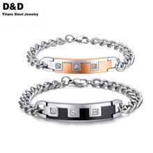 Los amantes de los encantos pulseras par de joyería de cristal de circón oro y negro plateado pulseras joyería CB-005