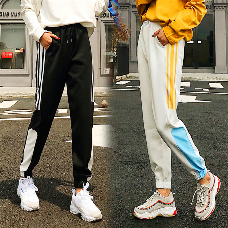 Cargo Pants Women Patchwork Long Pants High Waist Side Striped Black Trousers Student Elastic Waist Harajuku Plus Size Bottoms 48
