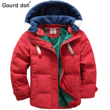 2017 New children Boy Down Parkas 4 9T winter kids outerwear boys casual warm hooded jacket