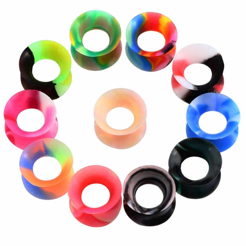 2 unids/lote tapones y túneles para oreja de silicona 3-25mm doble llamarada de tapón de silicona Piercing Dilataciones oreja Piercing