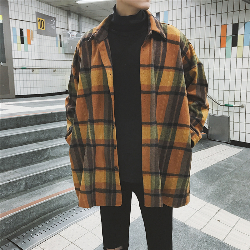 Autumn Plaid Shirt Men New Overshirt Fashion Casual Loose Wool Jacket Coat Man Retro Long-sleeved Shirt Male Clothes Streetwear