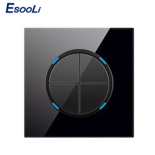 Esooli 4 Gang 1 Manier Willekeurige Klik Drukknop Muur Touch Light Switch Met LED Indicator Crystal Glass Panel(China)