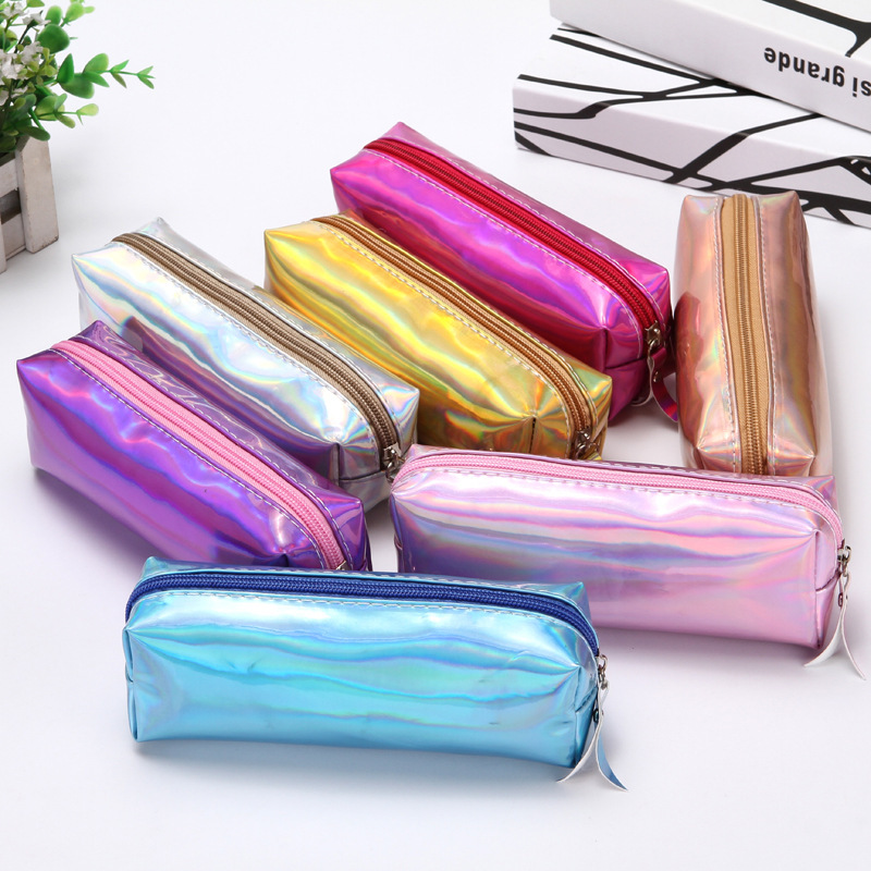 The Best Novelty Iridescent Laser Pencil Storage Bag Pu School Supplies Stationery Gift Pencilcase Home Office Pencil Box Storage Tools Home Storage & Organization