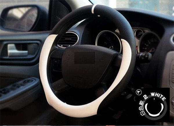 Outer Diameter 36/38/40cm White Color Micro Fiber Leather DIY Car Steering Wheel Cover Automobile Styling Interior Accessories