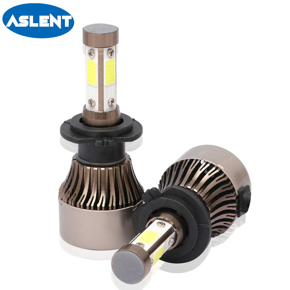 Aslent 2pcs 4 Side Lumens COB LED H4 H7 H11 H8 H9 H13 HB3 9005 9006 9007 100W 12000lm Car Headlight Bulb Auto Headlamp Light 12v