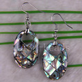 Free Shipping Fashion Jewelrly Oval New Zealand Abalone Shell Dangle Earrings 1Pair U166