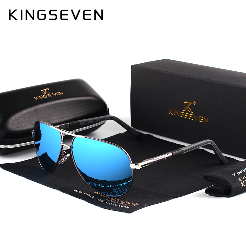 цена KINGSEVEN Aluminum Magnesium Men's Sunglasses Polarized Men Coating Mirror Glasses oculos Male Eyewear Accessories For Men K725