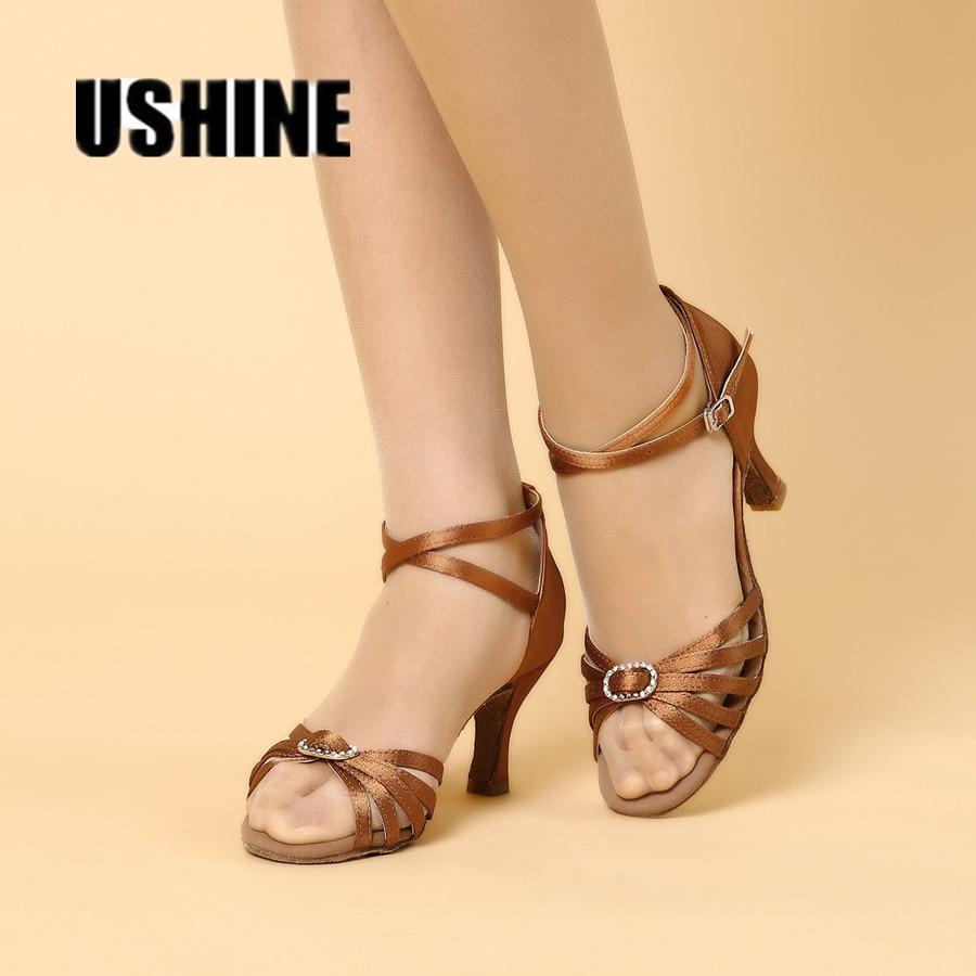 Free Shipping Black Brown Stain Latin Dance Shoes Women Zapatos Salsa Mujer Ballroom Shoes Zapatos De Baile Latino Mujer 218B