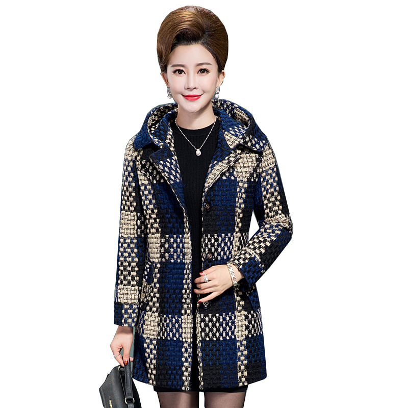 2018 Spring Autumn Women Wool Coat New Fashion Middle-aged mother Long section Woolen Coat Plaid Hooded Slim Wool Coat YM386