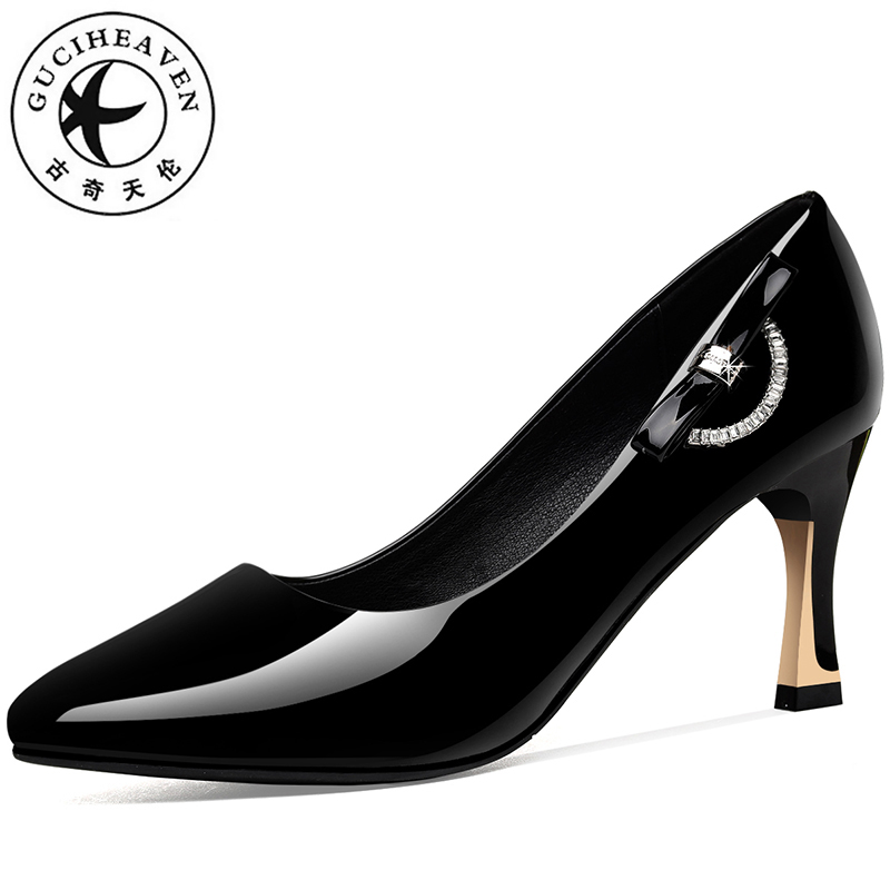 Guciheaven Women Dress Shoes Shiny Leather Slip-On Pumps Shallow Butterfly-knot Thin Spike High Heels 7.3cm Pointed Toe Office цены онлайн