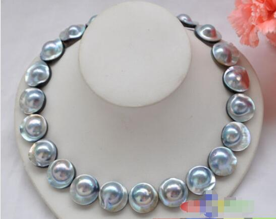Hot sale new Style >>>>> AAA++ HUGE REAL 18 20mm gray south sea mabe pearl NECKLACEHot sale new Style >>>>> AAA++ HUGE REAL 18 20mm gray south sea mabe pearl NECKLACE