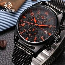 лучшая цена OCHSTIN Luxury Brand Men's Watch Stainless Steel Mesh Black Sports Wrist Watch Male Chronograph Relogio Masculino Hodinky Clock