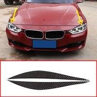2pcs Real Carbon Fiber For BMW 3 4 Series F30 F32 F33 F36 2013 2019 Front Fog Lamp Strips EyeLid Trim Car Accessories