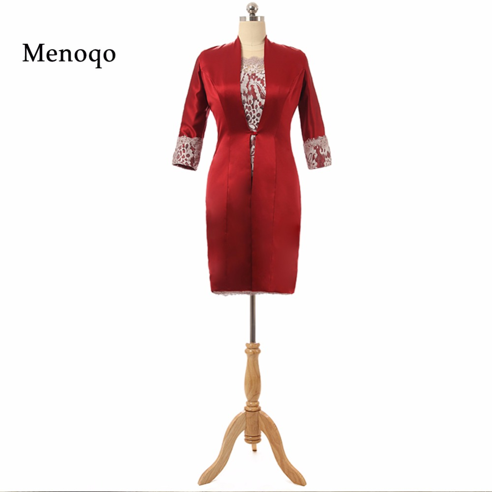 2018 Real Sample Sheath knee length lace satin vestido mae da noiva with coat two piece mother of the bride dresses short