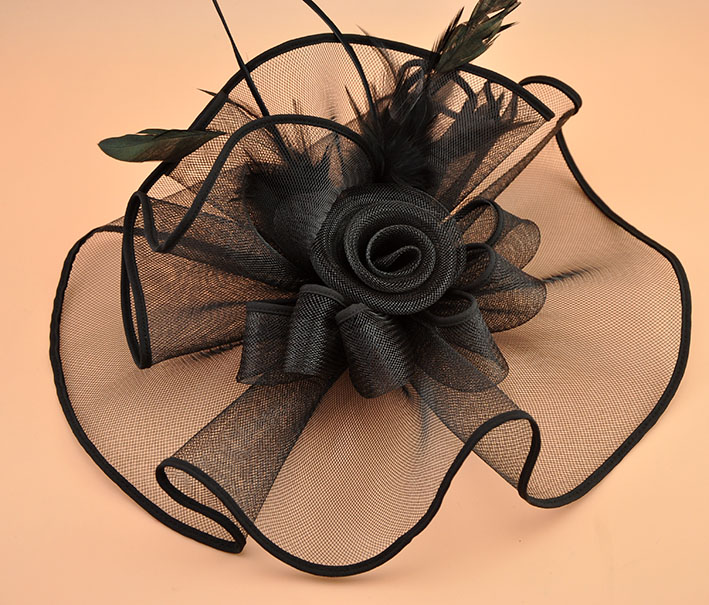 Marke weiß schwarz Feder Fascinator Haarspange Vintage Frauen - Bekleidungszubehör - Foto 4