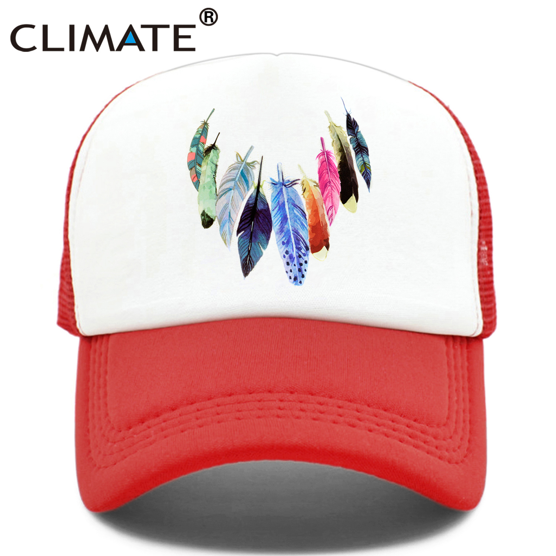c74bb6e075e CLIMATE Native Indian Feather Trucker Caps Hat Women Men Colorful Cap Dream  Catcher Hip Hop Mesh
