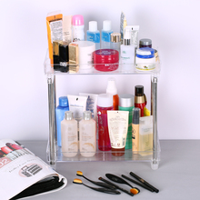 Multi-functional 2-Tier Cosmetic Organizer Tray Storage Shelf Caddy Stand for Bathroom Vanity Countertop