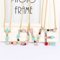 Wholesale New Gold 26 Alphabet Letter Necklace Crystal Multicolor Charm Pendant Chain for Mother Girlfriend Lover