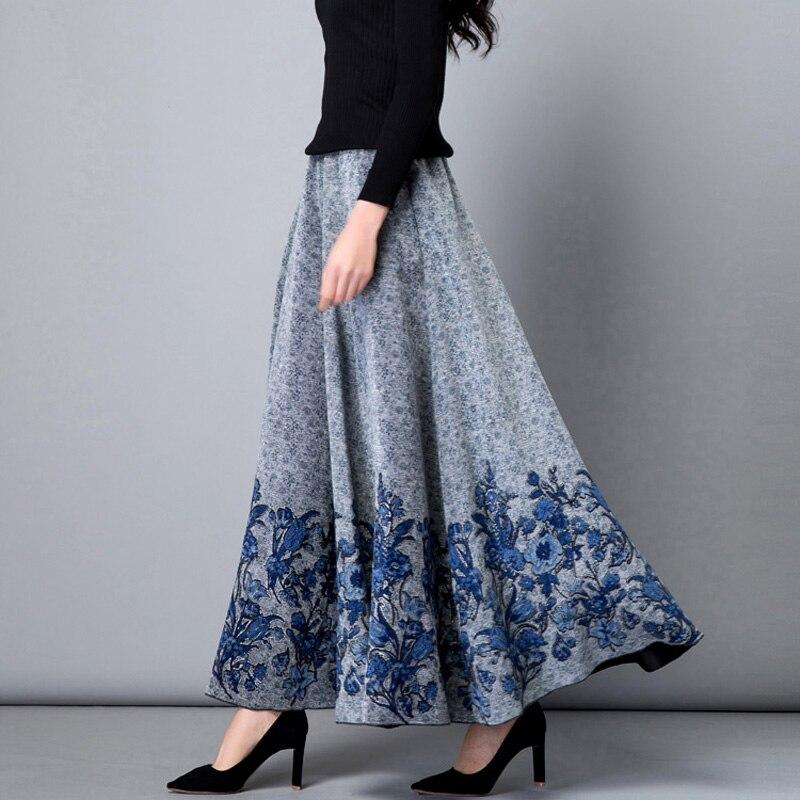 Jupes Femelle Maxi Vintage Longue 6xl La Femmes Rouge Vêtements corail Rétro 2018 Motif bleu Taille Plus Noir Hiver Dames Cachemire Floral Automne marron Imprimé w4aZw0W76q