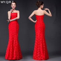 DM2670H#spring summer 2019 new Dresses long fishtail sexy slim bride wedding dress lace up Red Wholesale women clothing cheap