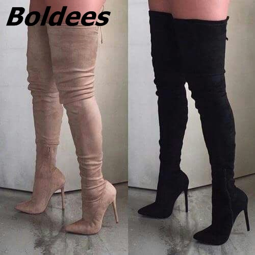 Elegant Women Black Stiletto Heel Thigh High Boots Sexy Slim Fit Pointy Thin Heel Lace Up Long Boots Pretty Shoes Hot Selling jialuowei women sexy fashion shoes lace up knee high thin high heel platform thigh high boots pointed stiletto zip leather boots