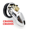 Silver CB6000 CB6000S Male Chastity Device with 5 Penis Ring,Cock Cage Virginity Chastity LockCock Ring,Adult Game Sex Toy G209
