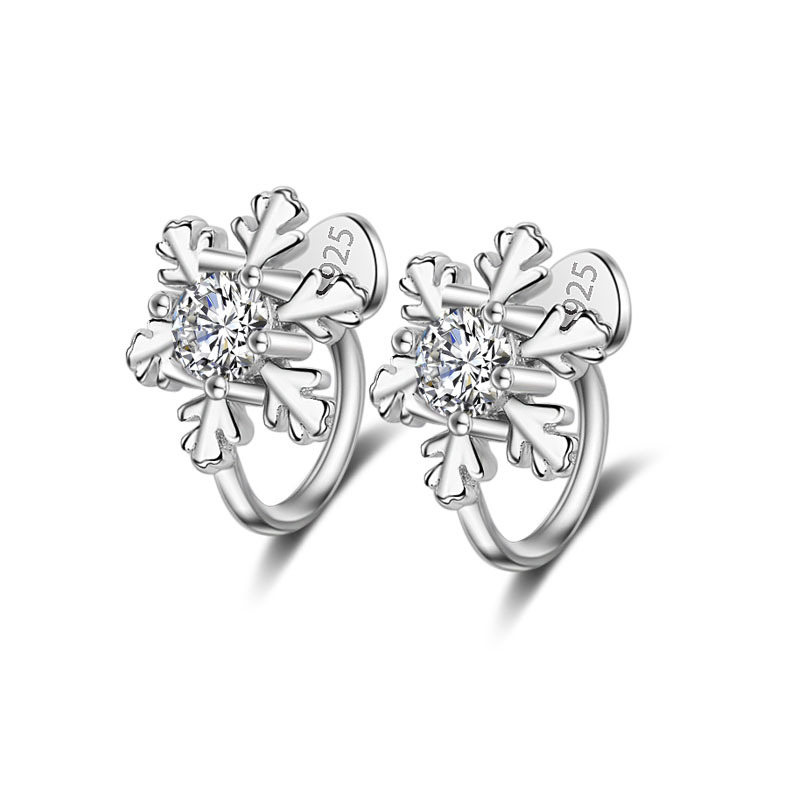 Hot Sale Wholesale 2017 New Snowflake Design Shiny Crystal 925 Sterling Silver Clip Earrings for Women Jewelry Christmas Gift in Clip Earrings from Jewelry Accessories