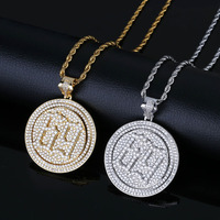 Numbers 69 Round Rotatable Pendant Necklace AAA Zircon Iced Out Mens Necklace Fashion Hip Hop Jewelry