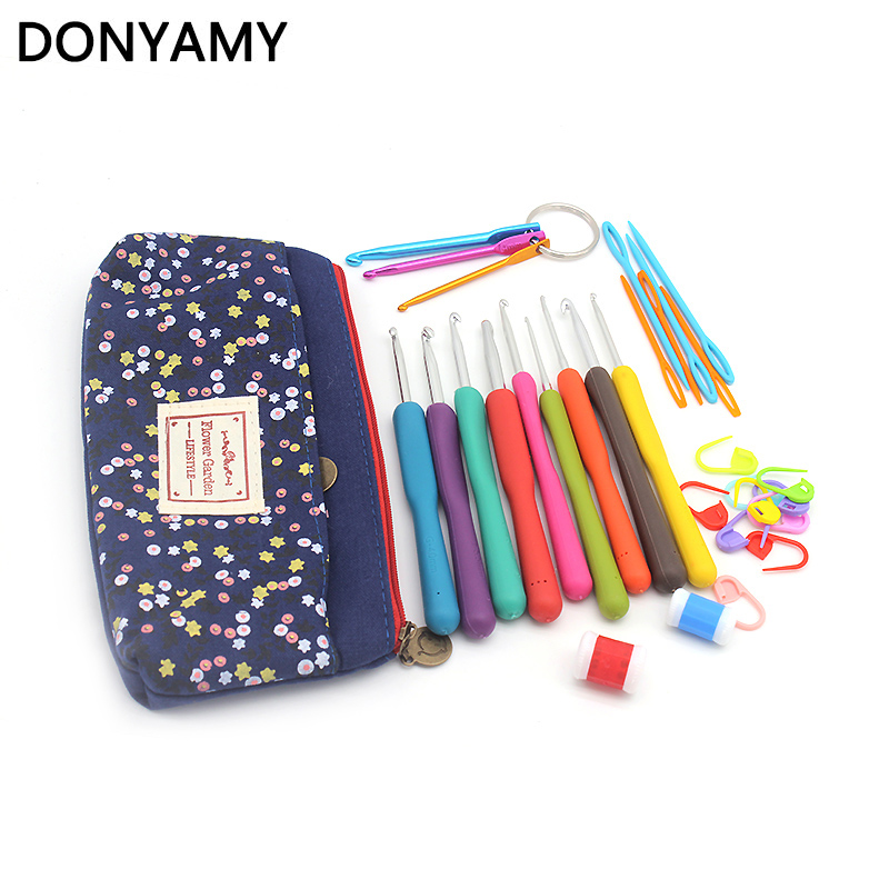 DONYAMY 29Pcs/Set Mixed Metal Hook Crochet Template Kit Aluminum Knitting Needles For Loom Tool Band DIY Crafts with bag