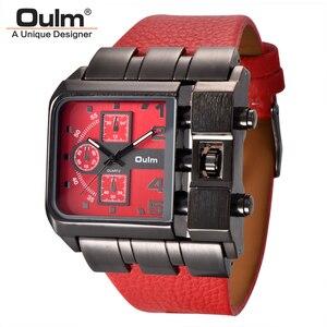 Image 1 - Oulm ブランドオリジナルのユニークなスクエアデザイン男性スポーツ腕時計ビッグダイヤルカジュアル PU レザーストラップクォーツメンズ腕時計リロイ hombre