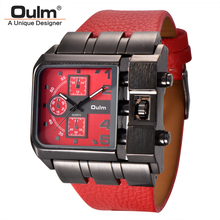 Oulm 브랜드 오리지널 스퀘어 디자인 남성 스포츠 손목 시계 빅 다이얼 캐주얼 pu 가죽 스트랩 쿼츠 남성 시계 reloj hombre
