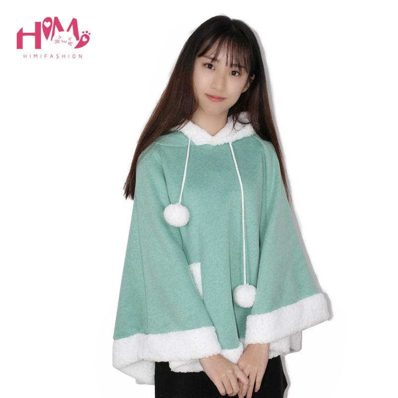Christmas Hooded Cloak Winter cape Women Pink Unlined Upper Garment Sets Fleece Lovely Japanese Coat Blue  9