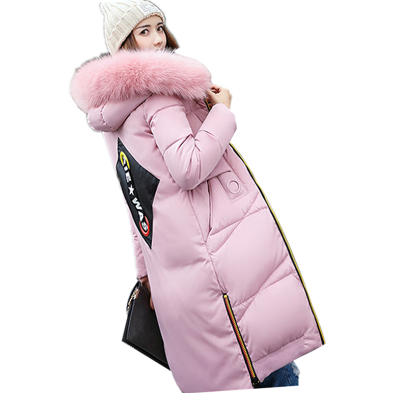 Print Warm Fur Collar Hooded Slim Fit Parkas New Winter Women Fashion Long Padded Jacket Quality Plus Size Wadded Jacket WFY136 warm padded parka 2017 new women winter hoodie fur collar wadded jacket fashion slim fit coat plus size cotton parkas gjl03