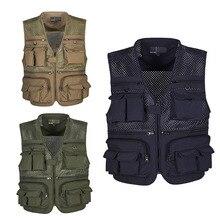 Для мужчин сетка дышащий ажурные камуфляж Журналист Фотограф Рыбалка жилет пальто куртка санках Размеры L-5XL
