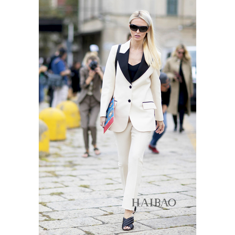 New Fashion women formal pants suits OL slim long-sleeve blazer with Trousers office ladies plus size work wear Suits