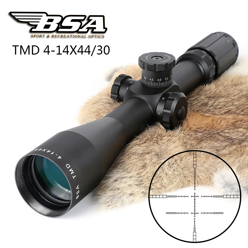 BSA TMD 4-14X44 First Focal Plane FFP Rifle Scopes Side Parallax Glass Etched Reticle Hunting Tactical Shooting Riflescope marcool 4 16x44 side focus front focal plane optical sights rifle scope hunting riflescopes for tactical gun scopes for adults