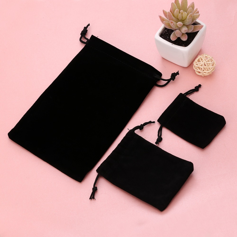 RINHOO 3 Size Fashion Black Color Velvet Bag Pouches Jewelry Package Small Ladies Women Messenger Bags