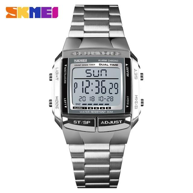SKMEI יוקרה מותג ספורט שעונים גברים של שעון 5 מעורר ספירה לאחור אלקטרוני דיגיטלי שעון יד אופנה חיצוני שעון גברים Relogio