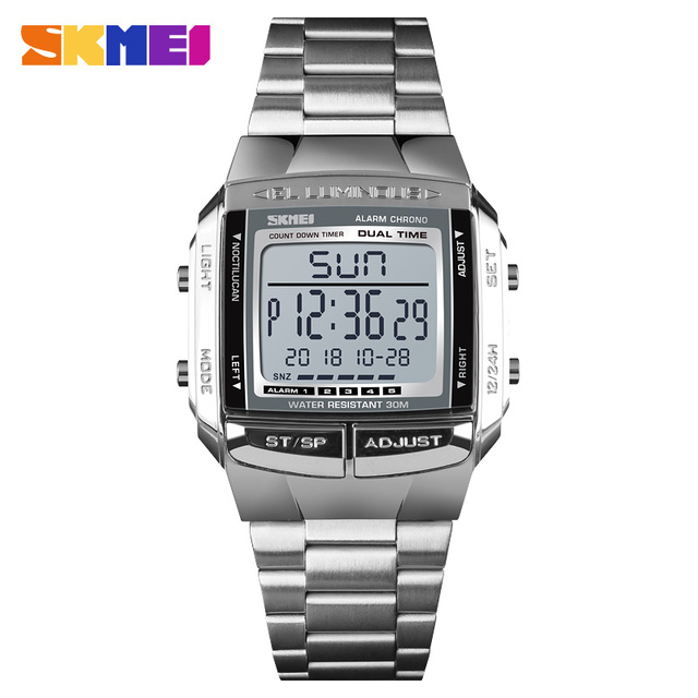 SKMEI Luxury Brand Sports Watches Mens Watch 5 Alarm Countdown Electronic Digital Wrist Watch Fashion Outdoor Clock Men Relogio