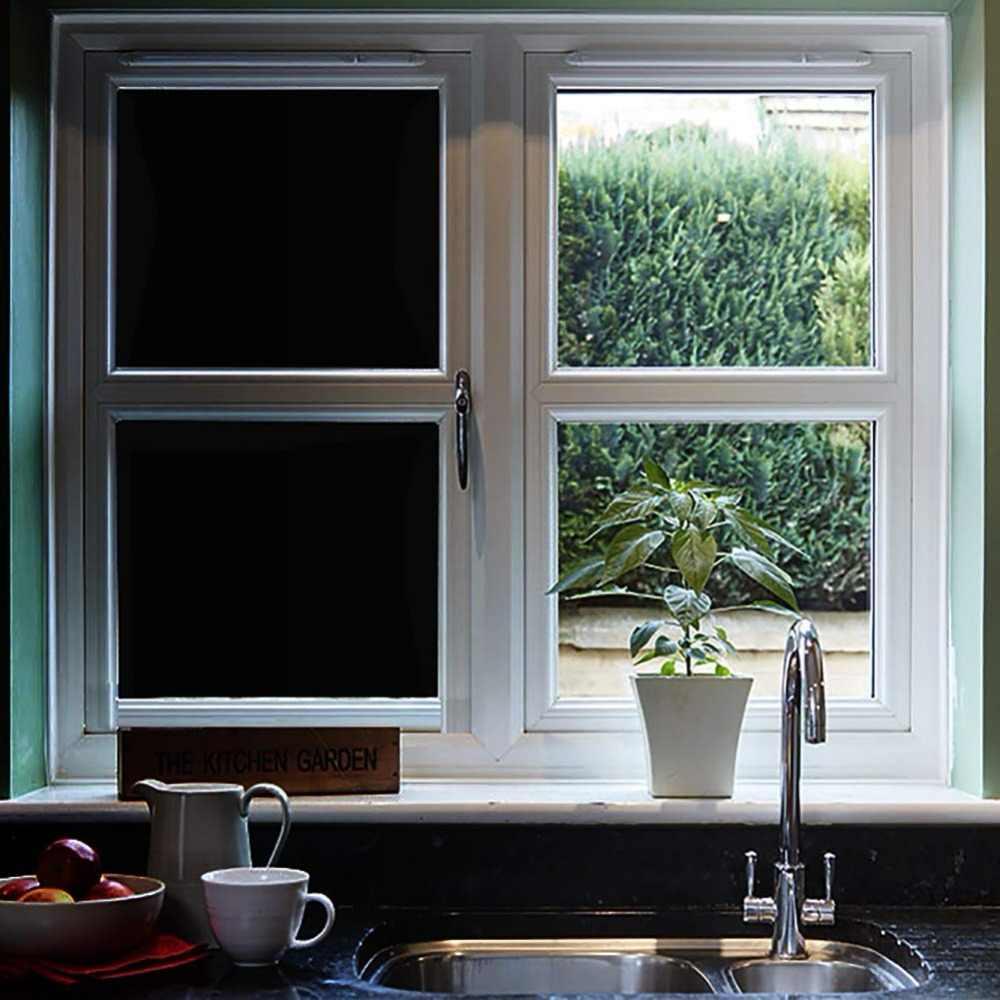 Funlife 45x100cm Blackout Window Film Privacy Window Cling Dark Window  Tinting Film Non-Adhesive Window Sticker Light Blocking
