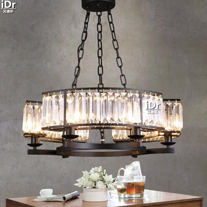 Nordic Restaurant Lights Simple Black Wrought Iron Lamp Crystal Light Wind Clical Export Chandeliers In From Lighting On